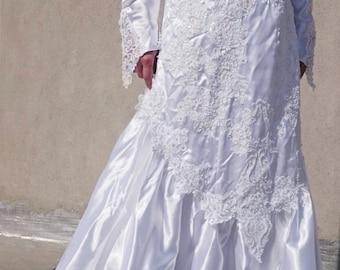vintage wedding dress long sleeve embroided