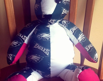 "Handmade ""Gameday"" Philadelphia Eagles Themed Fan Bear"