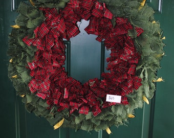 Green burlap and plaid wreath