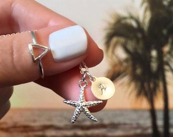 Starfish Necklace - Mermaid Jewelry - Personalized Disc Necklace - Sterling Silver Starfish Necklace - Starfish Charm Necklace