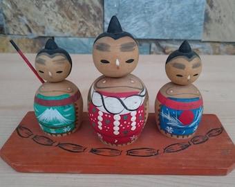 3 Bobblehead Samurai Kokeshi Doll
