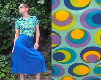SALE 30% OFF Colorful Vintage Shirt 70s Geometric print Psychedelic pattern Aqua Blue Short sleeves Hippie style Summer shirt Retro women...
