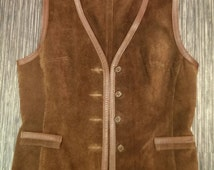 Vintage Real Suede Leather Brown Waistcoat Steampunk Wallace Sacks Made in England Size S/M