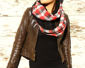 red plaid black fringe Christmas infinity scarf
