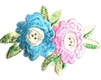 Applique, Flower applique, 1930s vintage embroidered applique. Vintage floral patch, sewing supply. #642GC1K6