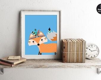 Tribal Fox - Nursery Wall Art, Printable Woodland Decor, Animal Play Room Art, Cute Kids Poster, Tribal Nursery Wall Decor, Baby Boy Gift