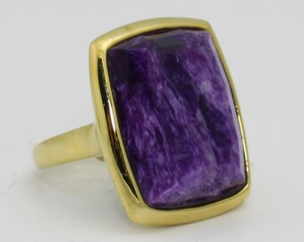 Large Vintage 14k Yellow Gold Faceted Charoite Ring