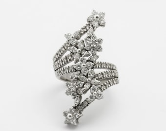 Coiled Floral Diamond Ring - 14k White Gold  High Jewelry