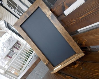Rustic Wood Framed Chalkboard - Kitchen Chalkboard - Large Chalkboard - Wood Chalkboard - Tall Chalkboard - Rustic Chalkboard With Ledge