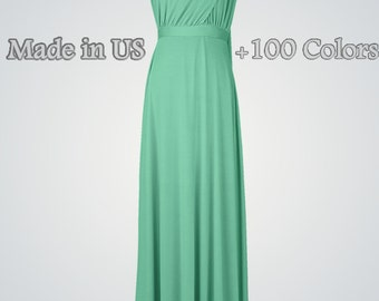 Convertible bridesmaid dress Infinity convertible dress Convertible wrap dress Convertible maxi dress Green bridesmaid dress long