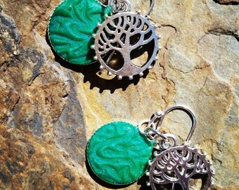 Tree Silhouette Earrings / one of a kind