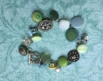 Antique and Vintage Button Charm Bracelet, Blue, Green and Silver Bracelet, Pastel Button Bracelet, Victorian Buttons