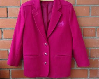Vintage Wool Blend Blazer 80s 90s Womens Blazer Raspberry Pink Blazer Club Blazer Oversized Blazer Wool Pink Jacket Pad Shoulder Blazer M