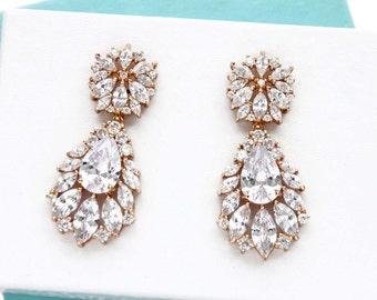 Crystal cluster earrings, GOLD, Bridal earrings, Cubic zirconia earrings,  Wedding jewelry, Crystal drop earrings, Swarovski earrings 11364G