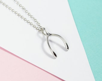 Sterling Wishbone Necklace, Minimalist Necklace, Dainty Necklace, Girlfriend Necklace, Minimalist Jewelry, Sterling Silver Necklace