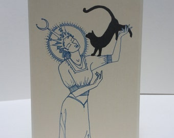 Moon Goddess and Cat blank greeting card