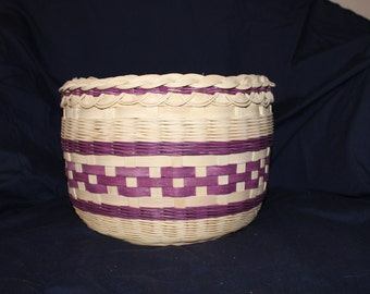 Hand Woven Wicker  and Reed Decorative Basket