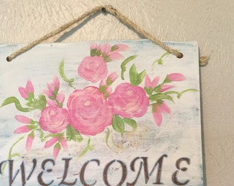 Welcome Sign Pink Roses