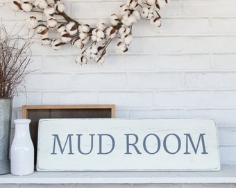 "Mud room sign | rustic wood sign | rustic wall decor | mud room decor | 25"" x 7.25"""