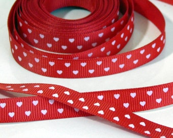 5 yd Red Printed White Hearts Grosgrain Ribbon