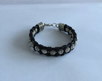 Black Leather Beaded Bracelet