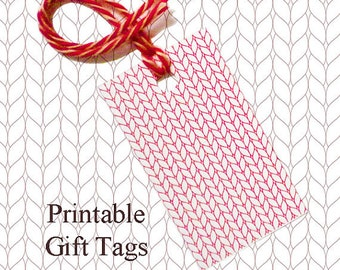 Red Line Knitted Gift Tags / Printable Knitting Gift Tags / Christmas Gift Tags / Knitter Scrapbook Tags /