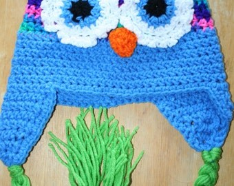 Adorable owl crocheted hat.