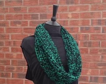 Crochet scarf hand crochet scarf, infinity scarf, crochet scarves, circle scarf, cowl scarf, crocheted scarf, black scarf, loop scarf,
