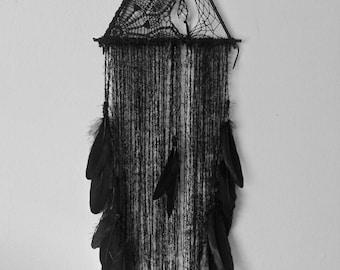 Black Dreamcatcher - triangle dream catcher - Bohochic wall hanging - bohemian - harry potter decor - wiccan - healing crystals - wall art