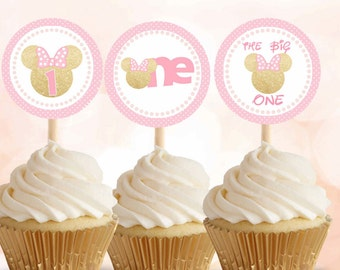 Minnie Mouse pink and gold, Minnie Mouse cupcake toppers, Minnie Mouse stickers,  first birthday, Digital File.