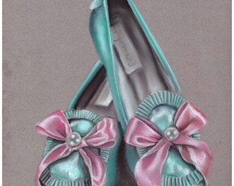 In her shoes , original pastel drawing of vintage shoes in mint and pink , marie antoinette era inspiration