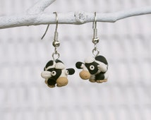 Cow Earrings, Polymer Clay Cow, Farm Animal Earrings, Handmade Cow Earrings, Sculpted Earrings, Black and White Spotted Earrings