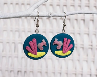 Seahorse Earrings, Polymer Clay Seahorse Earrings, Marine Biology, Sea Animal Earrings, Ocean Earrings, Beach Earrings, Coral Earrings