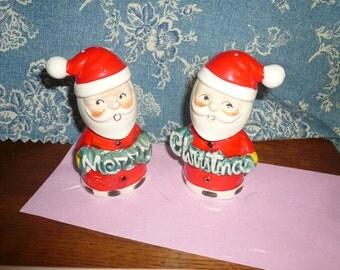 Vintage Santa Salt Pepper Shakers Merry Christmas Happy Santa's Japan Handpainted Santa's