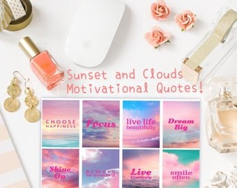 Sunset and Clouds Motivational Quote Stickers / For Your Planning and Scrapbooking Needs!