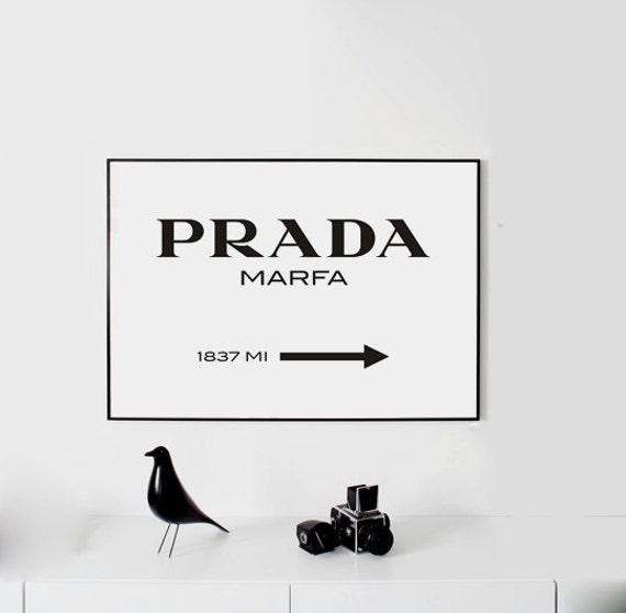 prada marfa wall art fashion print fashion logo fashion. Black Bedroom Furniture Sets. Home Design Ideas