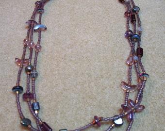Delicate Purple Czech Beaded Necklace