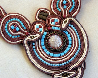 Moroccan mosaic statement soutache necklace#Turquoise brown neckalce#Hand embroidered necklace#Gift for her#Handmade jewelry#Casual necklace