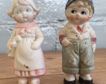 Vintage 1950's Dutch boy and girl cake toppers