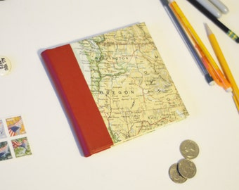 Vintage Map Travel Journal Sketchbook 5 Inch Square With Red Faux Leather Spine Feat Northwes