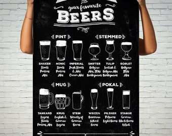 Extra Large Wall Art - Beer Glasses - Cool and Cheap! - Printable for Commercial or Personal use