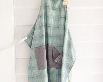 Check fabric Apron for makers, by Studio Mücke and MGS, gardening apron, eco crafting apron, check fabric.