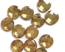 14mm Round Swarovski Chessboard Faceted Glass Golden Shadow Crystal Cabochon with Flat Back and Low Dome--sold individually