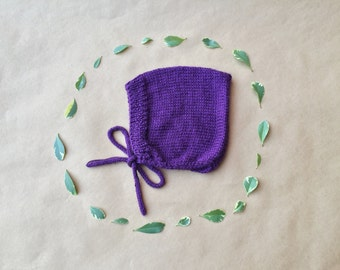 Vintage Inspired Hand Knit Pixie Bonnet with strings to tie under chin
