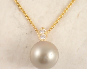 14K Yellow Gold South Sea Pearl and Diamond Pendant