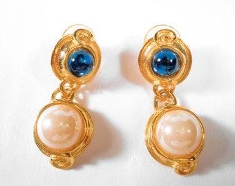 Vintage Faux Pearl Jeweled Dangly Pierced Earrings U2818 Dangle Drop