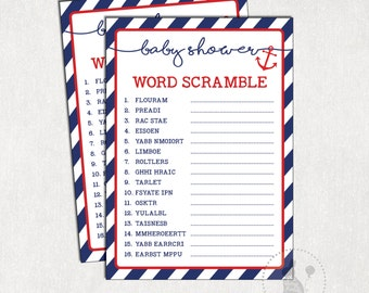 Nautical WORD SCRAMBLE Baby Shower Game. Navy And Red Baby Shower Activity.  Baby Boy