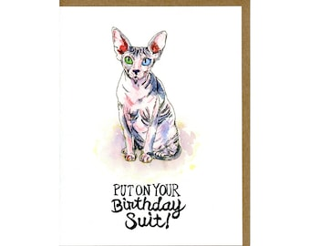 Cat Birthday Card Featuring Hairless Sphynx Cat - Cat Greeting Card
