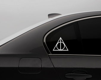 Harry Potter Decal Deathly Hallows Decal - Harry Potter Decor Bumper Sticker Deathly Hallows Laptop Decal Young Adult Fantasy Hogwarts