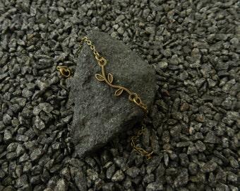 Tiny Brass Branch Bracelet, charm bracelet, chain bracelet, link, tiny, thin bracelet, friendship bracelet, gift, bronze, Minimalist Jewelry